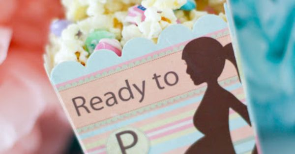 """Ready to Pop"" Baby Shower Favor: Popcorn Favor Box & White Chocolate"