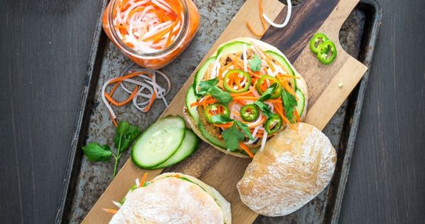 Lemongrass Tofu Banh Mi Burger with Sriracha Aioli | Recipe | Aioli ...