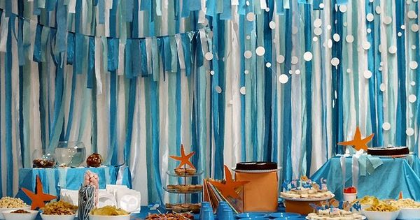 under the sea birthday party. Like the streamers for an ocean backdrop