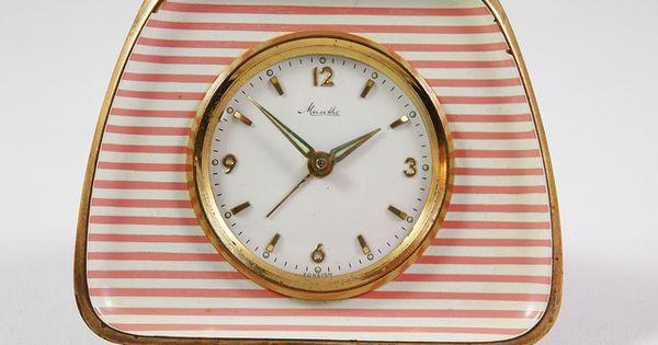 vintage pink Mauthe clock c. 1950s--I