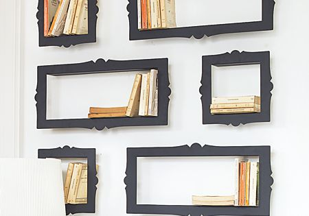 DIY picture frame bookshelves. Make your own frames or up-cycle old frames.