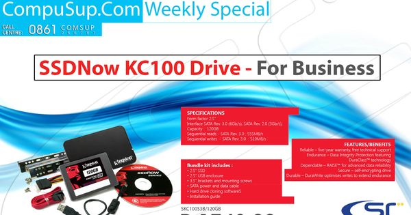 Compusup Com Weekly Special On Kingston Ssdnow Kc100 Drive Only R1748 Excluding Vat Contact Nicole Barlow Nicoleb Compusup Com Or 021 With Images Weekly Specials