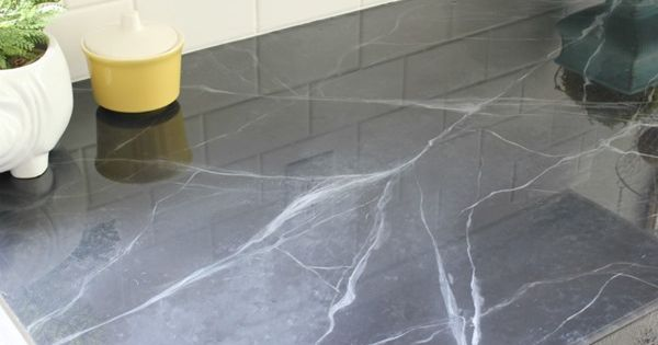 Faux marble counter tops with envirotex lite to seal the - Faux marble bathroom countertops ...