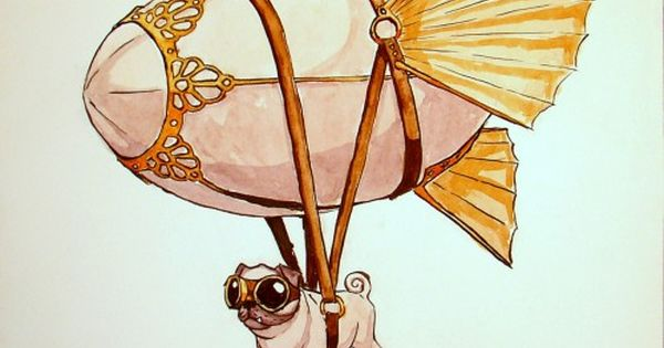 Steam Pug cute illustration pug steampunk