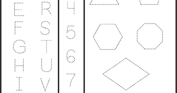 Letters Numbers & Shapes Tracing Worksheet