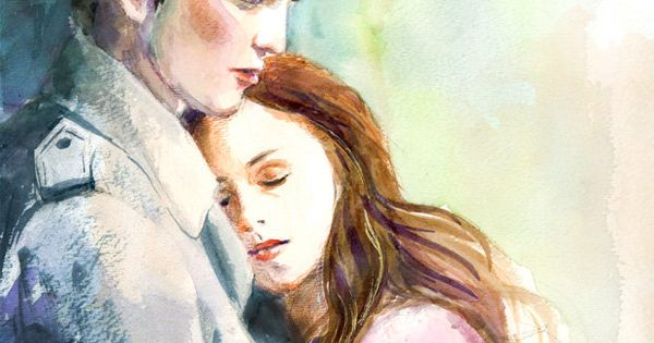 Twilight Edward And Bella Watercolor Painting 18 00