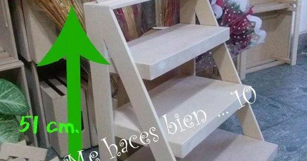 Escalera repisa estantes fibrofacil candy bar decoracion for Escalera madera portatil