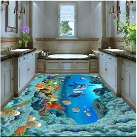 Aesthetic Dolphins And Beautiful Corals Under The Sea Waterproof Splicing Custom 3d Floor Murals Floor Murals Floor Wallpaper 3d Flooring