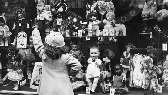 Vintage Christmas Photo - Sweet Child Looking in Department Store Window. The