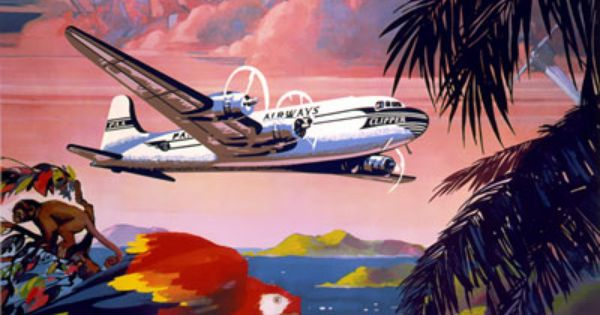 TW43 Vintage Fly To The Caribbean By Clipper Travel Poster Re-Print A2//A3