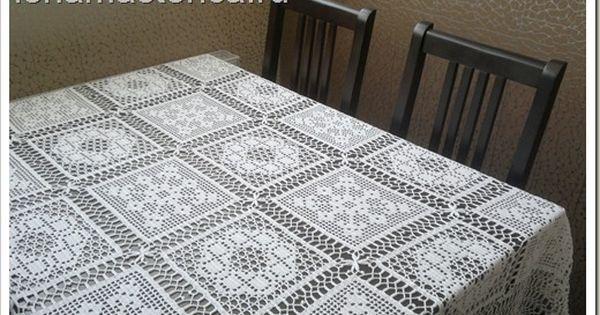 Copri tavolo con piastrelle filet schema uncinetto for Piastrelle uncinetto filet schemi