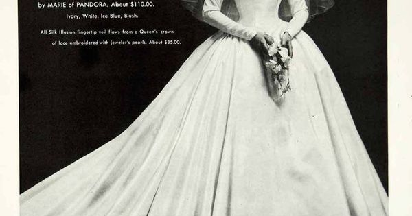 1956 Ad Vintage Marie Of Pandora Wedding Dress Bride