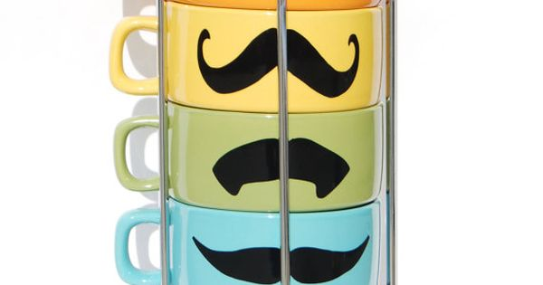 Multi Color Mustache cups