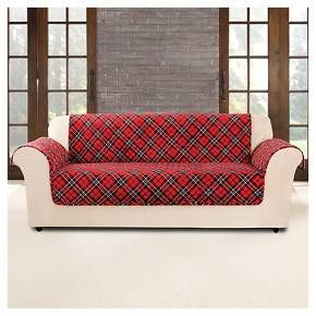 Sure Fit Red Furniture Flair Tartan Plaid Sofa Cover Plaid Sofa