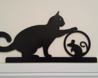 Mom And Kitty Door Window Topper Cat Art Painting Cat Silhouette Window Toppers