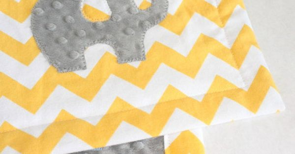 Yellow Chevron Gray Minky Baby Blanket with by CAVUcreations $42.50 - like