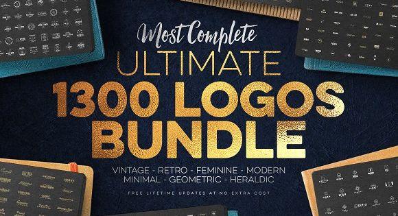 1300 Logos Ultimate Megabundle – Vintage, retro, modern geometric