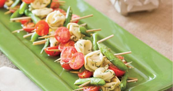 Tortellini Skewers. Great idea! 40 Party Appetizer Recipes from SouthernLiving.com
