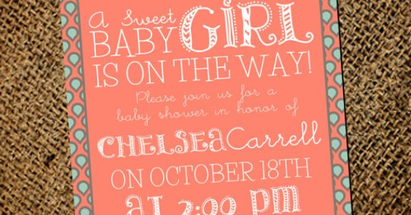 MINT CORAL GOLD Baby Shower Invitation on Etsy, $13.00