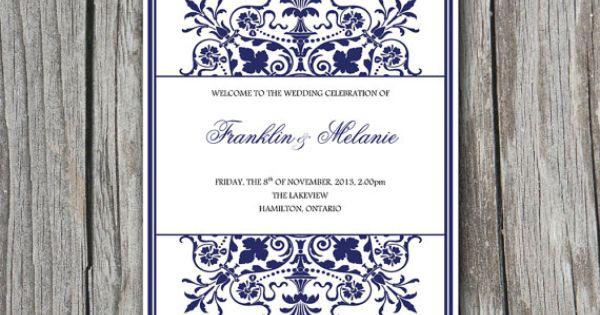 half fold  u0026quot regency u0026quot  wedding program template microsoft word