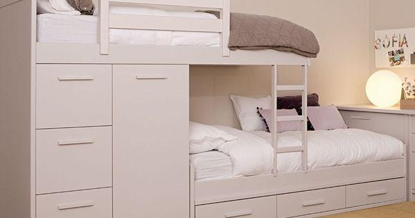 Cama tren con armario y cajones gran variedad de acabados for Armario habitacion nina