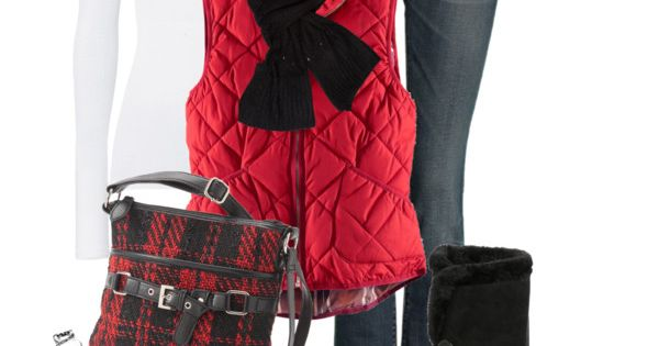 "Substitute green vest for red vest. ""Ski Lodge"" by happygirljlc on Polyvore."