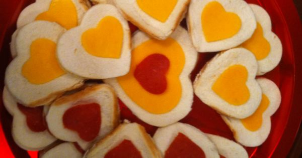 12 Valentine's Healthy Snacks for Kiddos. Heart Shape cutter, bread, cheese &