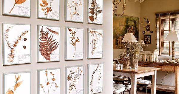 Dried flower art accents lovely room in neutrals - Paredes economicas ...