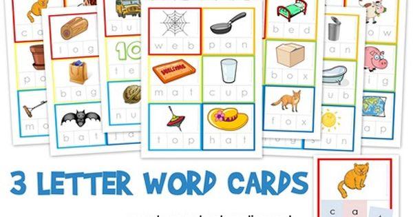 Three Letter Word Cards ~ Free Printable   Three letter words, Alphabet  preschool, 3 letter words
