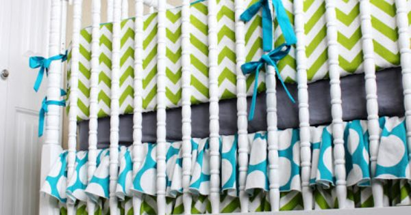Appealing Ruffled Crib Skirt Baby Bedding With Cool Chevron Baby Bedding For