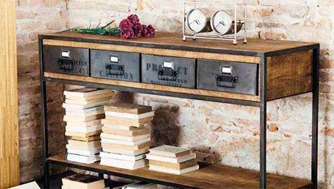 console a tiroirs vintage industriel