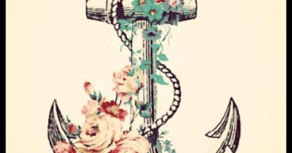 beautiful idea for a tattoo: flower and anchor tattoo