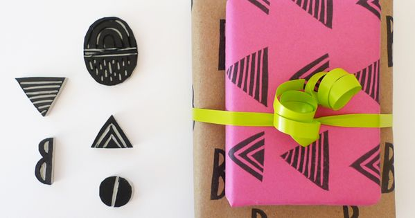 DIY hand stamp idea to jazz up solid wrapping papers!