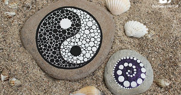 Diy mandala stones tutorials colorful - Peinture sur galet mandala ...
