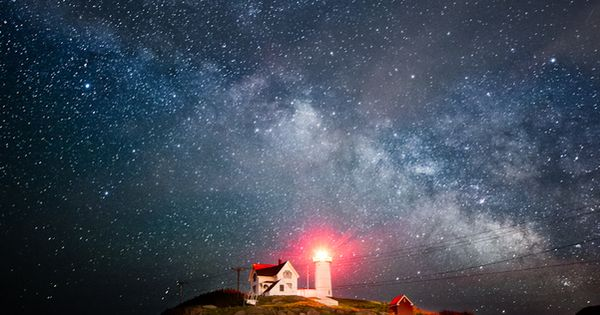 The Milkyway rises over the Cape Neddick (Nubble) Lighthouse, York, Maine.
