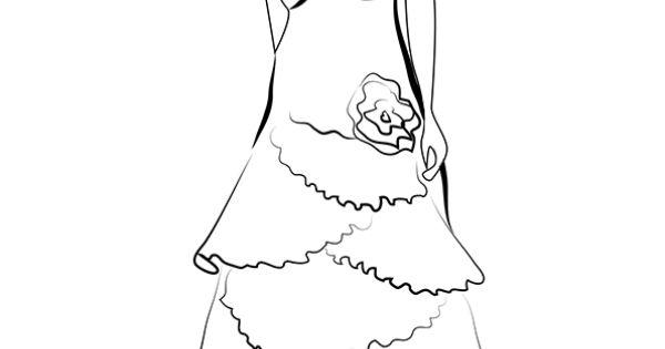 Dessin coloriage robe de mari e volants et fleurs bustier coloring pinterest nice - Coloriage de mariee ...