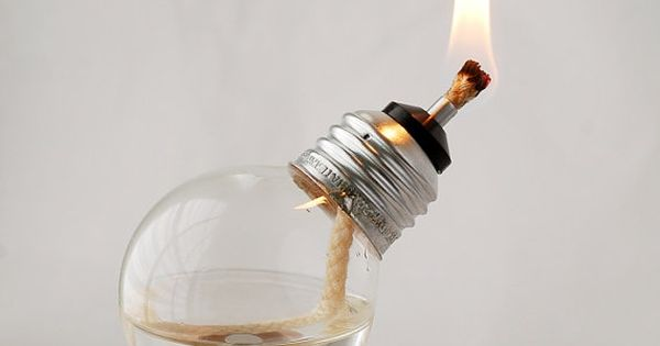 Mini Recycled Light Bulb Oil Lamp | RecycledLightCompany This would be cool