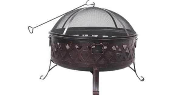 Round Wood Burning Fire Pit Powder Coated Steel Construction With High Temperature Paint Finish Black High Temperature Paint With Golden Garden Treasures Fire Pit Wood Burning Fire Pit Wood Burning Fires