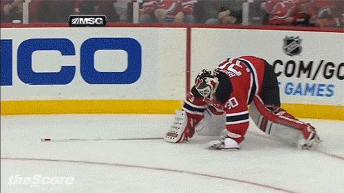 Brodeur Falls While Trying To Save Goal After Losing His Stick But The Goal Wouldn T Have Counted Anyway Since Penguins Were Offside Nhl Hockey News Hockey