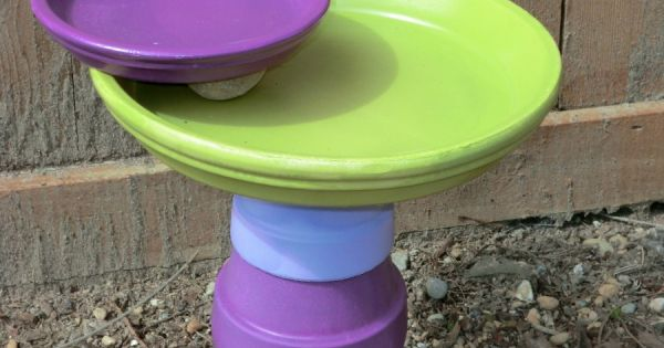 Flower Pot Bird Bath, something fun to do with all my old