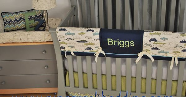Monogram On Retro Car Crib Bedding Monogrammed Bedding