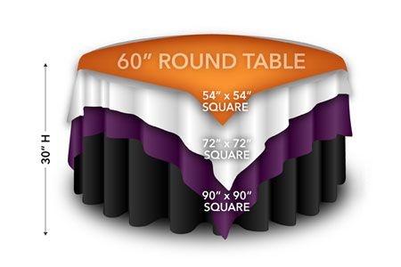 60 Round Tables Displaying Square Overlays Round Tablecloth