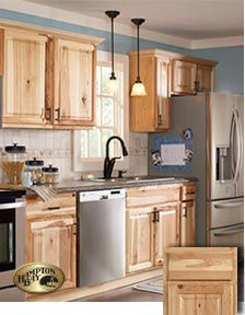 Home Depot Hampton Natural Hickory Cabinets Brown Kitchen