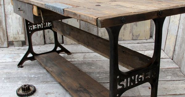 Industrial Table With Vintage Singer Sewing Machine Legs