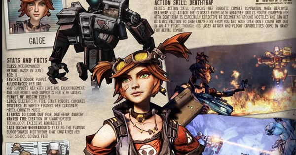 Gaige introduction worksheet from BL2. | Games ... Borderlands Character Backstory