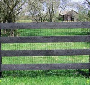 Here Is A How The 2x4 Knotted Wire Looks Underneath A 4 Board Fence Dog Fence Farm Fence Diy Fence