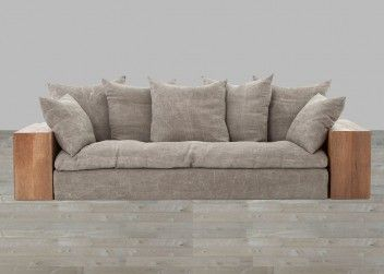 Stonewash Jute Sofa With Reclaimed Wood Arms Wood Sofa Wooden