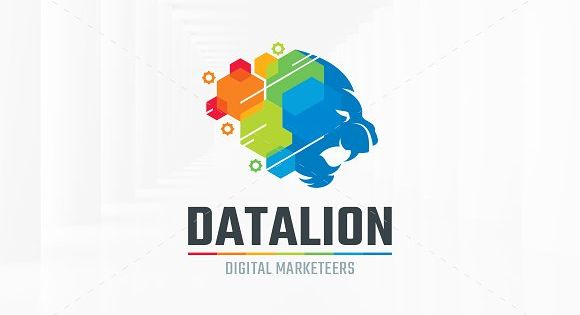 Data Lion Logo Template for internet business