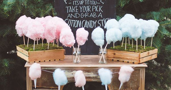 Algod n dulce para una fiesta reveal cotton candy for a - Ideas divertidas para fiestas ...