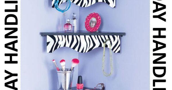 Zebra print wooden corner shelves girls teen room decor for Cute zebra bedroom ideas